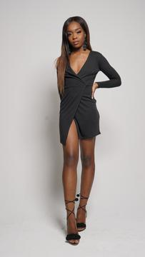 slit me down V-neck wrap dress