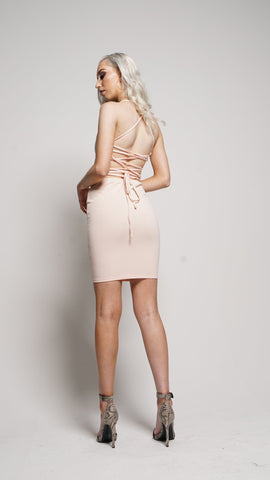 dont be lacey backless bodycon dress