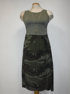 COTTON CAMOUFLAGE DRESS, GREEN
