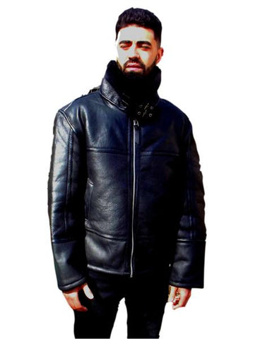 Mens Leather Jacket Black Shearling Sheepskin Bomber Jacket by CD D C