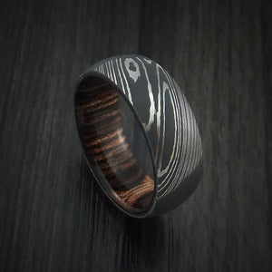 Damascus Steel Ring with Heritage Brown Hardwood Interior Sleeve Custom Made