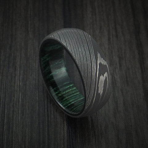 Damascus Steel Ring with Jade Hardwood Interior Sleeve Custom Made