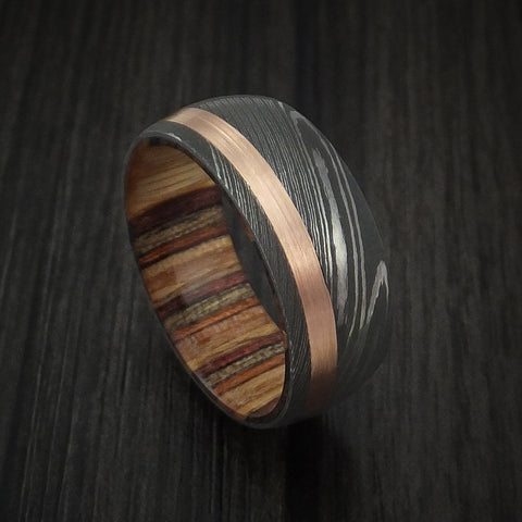 Damascus Steel and 14k Rose Gold Ring with Hazelnut Hardwood Sleeve Custom Made Band