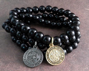 BLACK GLASS BEAD BRACELET WITH ST. CHRISTOPHER