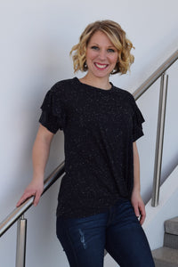 Speckled Ruffle Knot Top