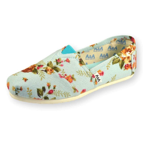 FLORAL VEGAN LIGHT BLUE CANVAS SLIP ON SHOES