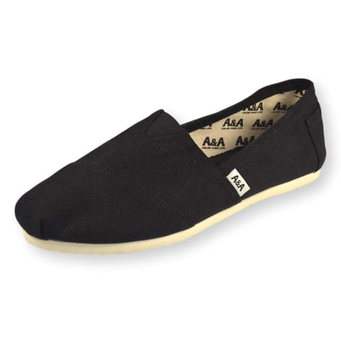 CLASSIC VEGAN BLACK CANVAS SLIP ON SHOES ALPARGATAS (UNISEX)