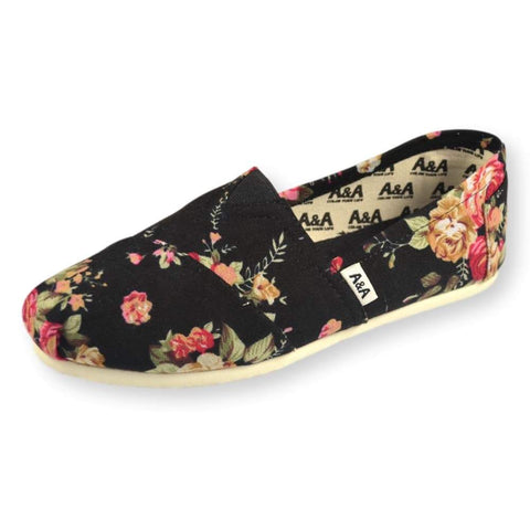 FLORAL VEGAN BLACK CANVAS SLIP ON SHOES ALPARGATAS