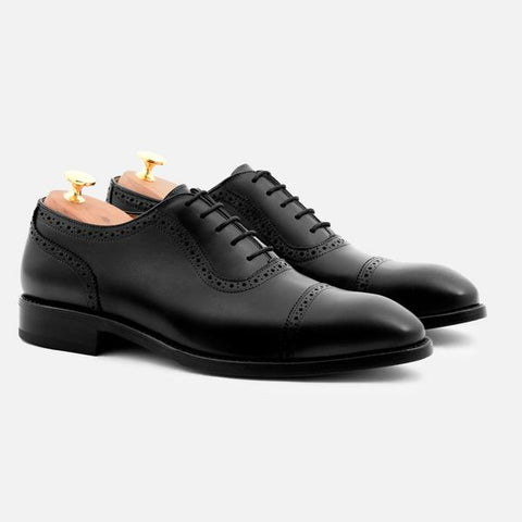 DURANT OXFORD BROGUES - CALFSKIN LEATHER - BLACK