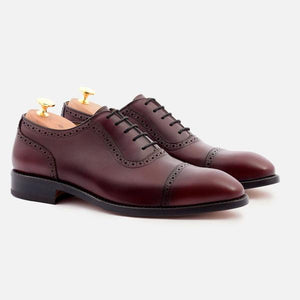 DURANT OXFORD BROGUES - CALFSKIN LEATHER - BORDEAUX