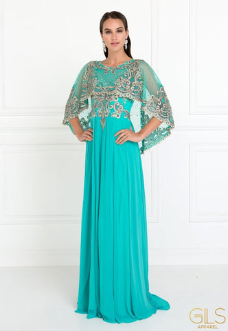 LONG EMBROIDERED GREEN CAPE DRESS BY ELIZABETH K GL1527