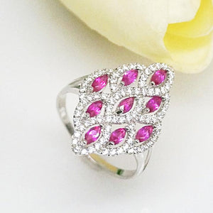 PURE 92.5 STERLING SILVER RUBY & CZ RING