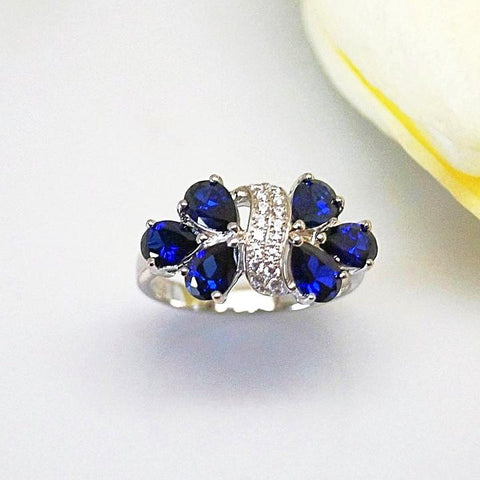 PURE 92.5 STERLING SILVER BLUE SAPPHIRE & CZ RING