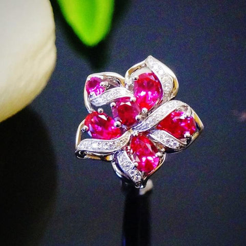 PURE 92.5 STERLING SILVER RUBY DESIGNER FLOWER RING