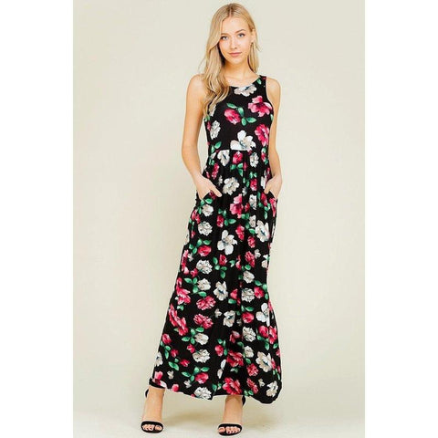 Sleeveless Shirring Maxi Maternity Dress