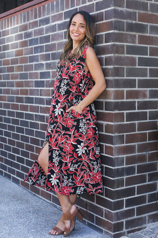 FALLON DRESS IN FLOWER RED