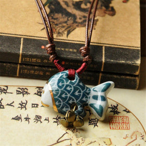 Ceramic Hand Painted Lucky Fish Necklace