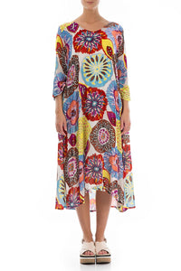 FLARED FLORAL PATTERN COLOURFUL DRESS