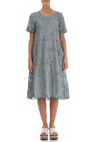 EMBROIDERED ROSES GREY BLUE COTTON DRESS