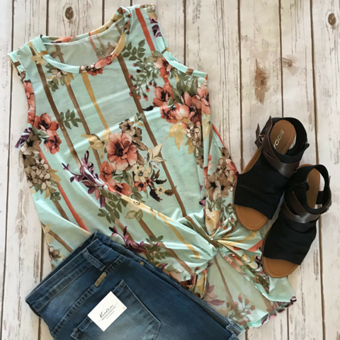Sleeveless Floral Knot Tunic