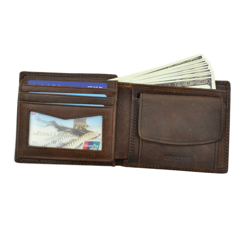 Cow Leather Men Wallets with Coin Pocket