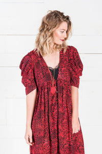 Rosetta Button Front Dress in Red