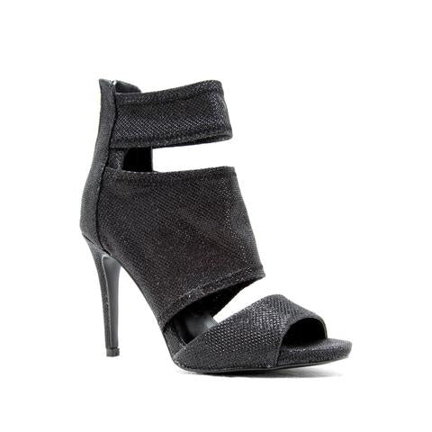 BLACK PEEP TOE BAND BOOTIE