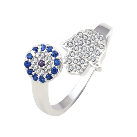 Blue and White Micro Pave Hamsa and Evil Eye Silver Plated Ring