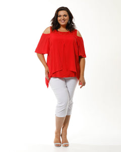 Sonia Cold Shoulder Top- Red