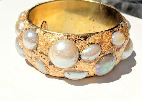 Sugar Gay Isber Pearls Bangle Vintage Contemporary Jewelry
