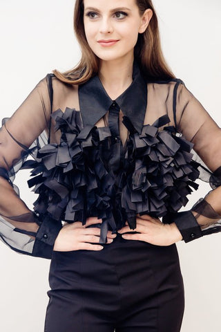 VALERIE SHEER FLOUNCE TOP
