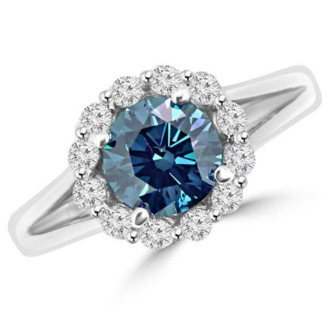 Blue Diamond Halo Engagement Ring Split Band