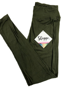 OLIVE SOLID LEGGINGS