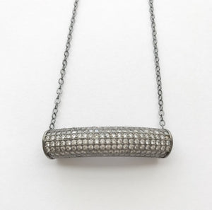 GUNMETAL PAVE CRYSTAL BAR NECKLACE