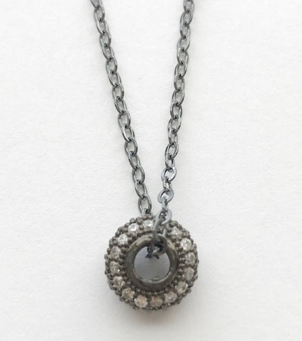GUNMETAL CRYSTAL CIRCLE NECKLACE