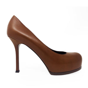 "YSL BROWN ""TRIBUTE TWO"" PUMPS"