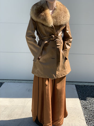 Leather and Fur Collar Coat
