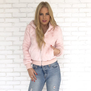 PRETTY IN PINK FAUX FUR JACKET