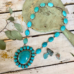 BOLD SOUTHWESTERN TURQUOISE ROSETTE CLUSTER NECKLACE C. WHITEROCK STERLING SILVER