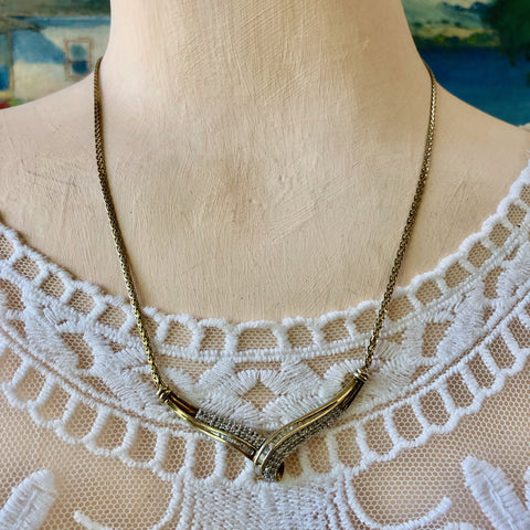 GOLD-WASHED STERLING SILVER AND DIAMOND NECKLACE