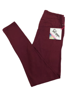 BURGUNDY SOLID LEGGINGS! ***NOTE BAND