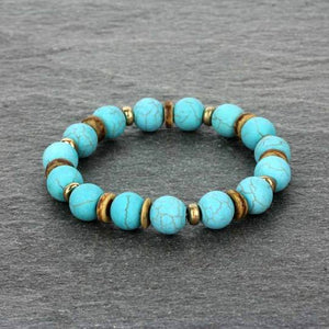 AH -- Bracelet -- Stretch Front Genuine Turquoise Color Stone With Wood Beads