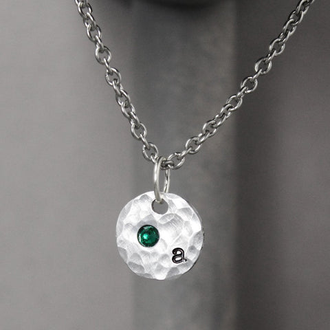 INITIAL NECKLACE WITH BIRTHSTONE