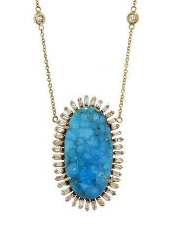Oval Turquoise Baguette Diamond Necklace