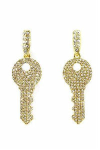 2' Golden Key Earrings