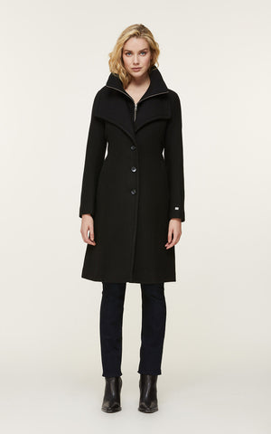KIKKY novelty wool coat with bib collar