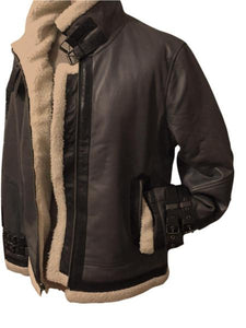 Mens Gray Sheepskin Leather Bomber Jacket by CD D C fully lined