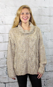 CABLE KNIT GOLD THREAD SWEATER