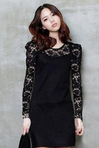 BLACK LACE ROUND NECKLINE LONG SLEEVE DRESS