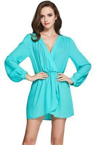 BEWITCHING GREEN MINI SHIRT DRESS PLUNGING NECKLINE
